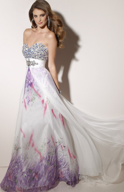 Paparazzi White and Lilac Evening Dress 91046 by Mori Lee: French ...