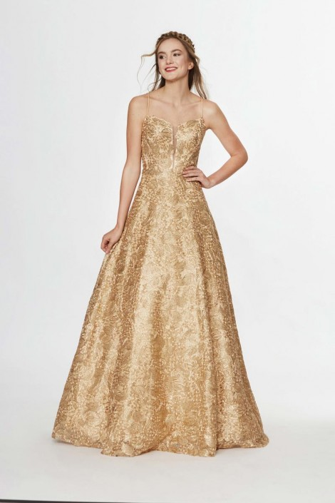 78282329bb Angela and Alison 91075 Metallic Lace Prom Gown  French Novelty