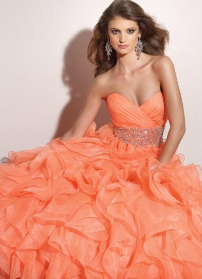 Mori lee orange prom dress