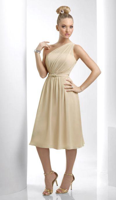 Bari jay one shoulder tea length bridesmaid dress 915 for One shoulder tea length wedding dress