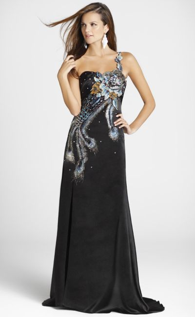 One Shoulder Blush Formal Dress 9201 With Crystal Peacock Feathers