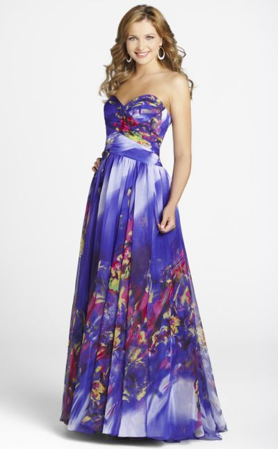 Purple Fl Print Chiffon Blush Formal Dress 9217