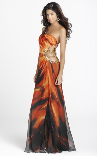 Blush Hot Flame Print One Shoulder Cut-Out Formal Dress 9230 ...
