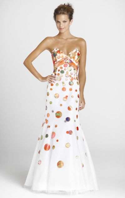 White Orange Tulle Dot Mermaid Blush Formal Dress 9231: French Novelty