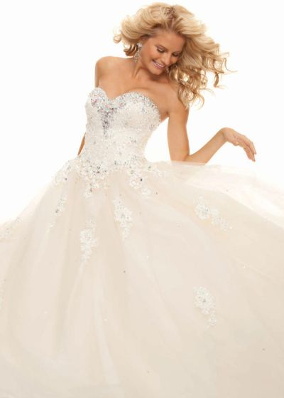 Paparazzi 93001 Beaded Lace and Tule Ball Gown by Mori Lee: French ...