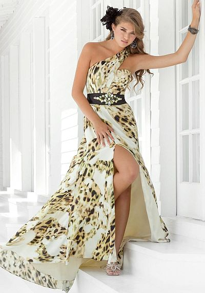 Blush Prom Cream Black Animal Print Evening Dress 9309: French Novelty