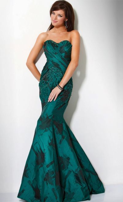 Green and Black Print Mermaid Formal Dress Jovani 9310: French Novelty
