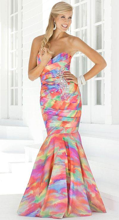 Blush Prom Bright Pastel Print Taffeta Mermaid Dress 9316: French ...