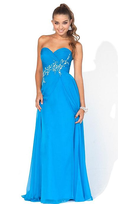 Blush Prom Caribbean Blue Chiffon Evening Dress 9321 French Novelty
