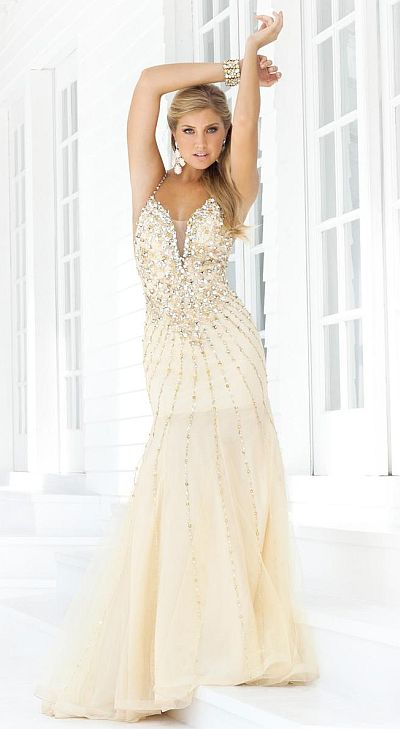 2012 Prom Dresses Blush Prom Beaded Gown 9325 French Novelty