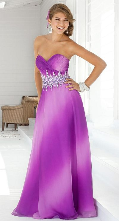 Blush Prom Magenta Ombre Chiffon Evening Dress 9328