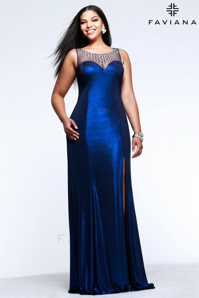 03b5ddde0f6 Faviana 9344 Glitter Jersey Prom Gown  French Novelty