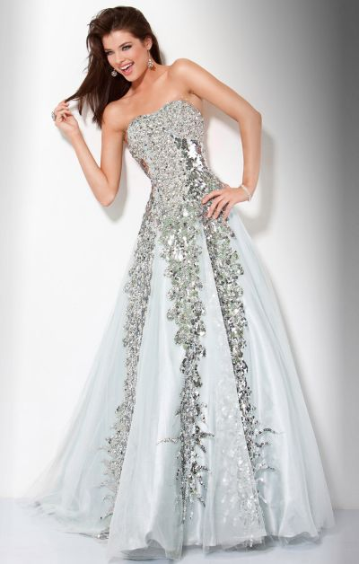 Jovani Silver Sequin Ball Gown 9347: French Novelty