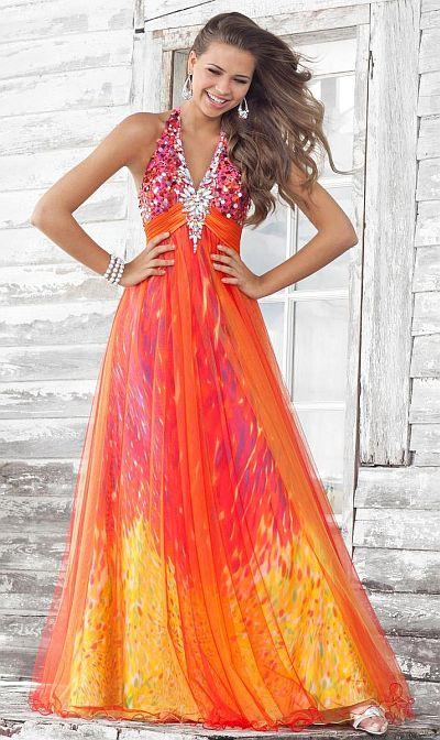 Blush Prom Orange Fuchsia Print V Neck Evening Dress 9352