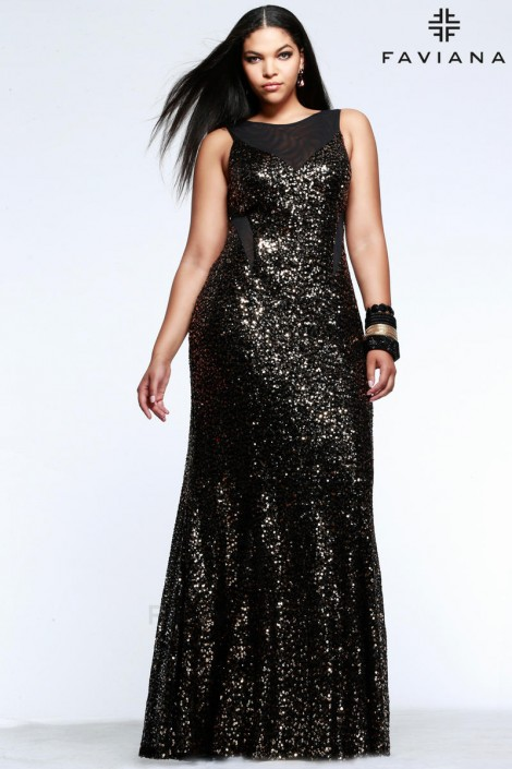 Faviana 9357 Plus Size Sequin Prom Dress