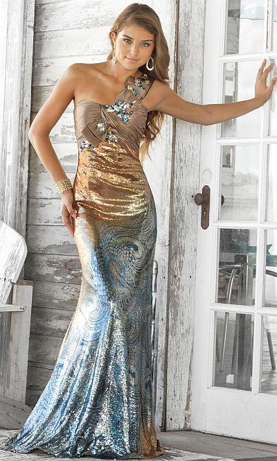 Bronze long prom dresses