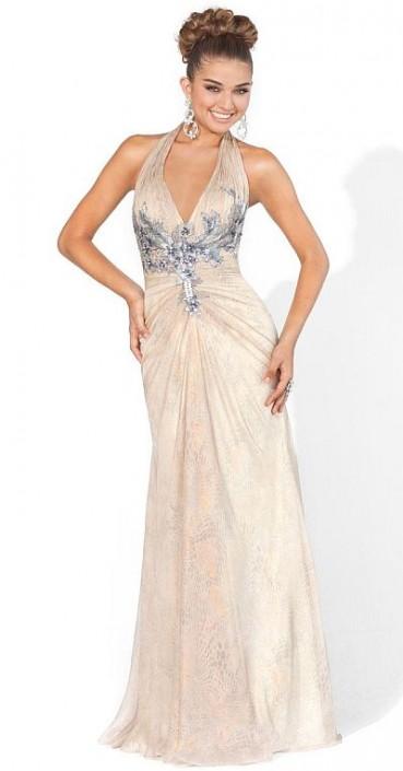 Blush Prom Dramatic Champagne Halter Dress 9368: French Novelty