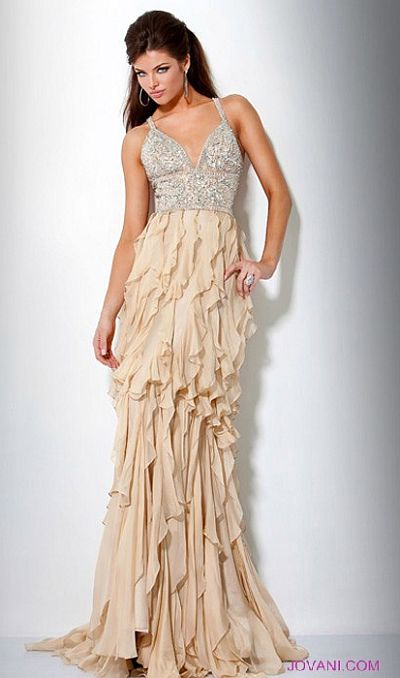 Jovani Ruffle Evening Dress 9376: French Novelty