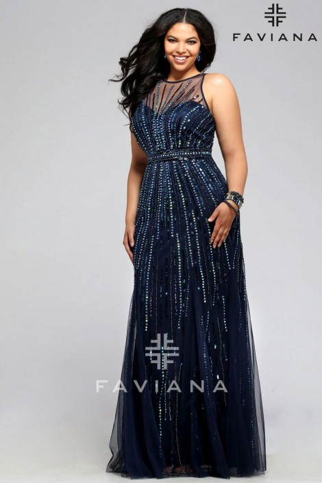 ea34c43bb763 Faviana 9382 Plus Size Sheer Beaded Tulle Gown: French Novelty