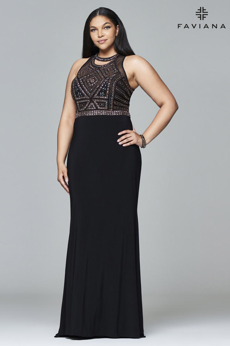 Faviana Curve 9395 Beaded Plus Size Prom Gown French Novelty
