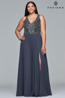 3d3daa4e51a Faviana Curve 9420 V Neck Plus Size Prom Dress