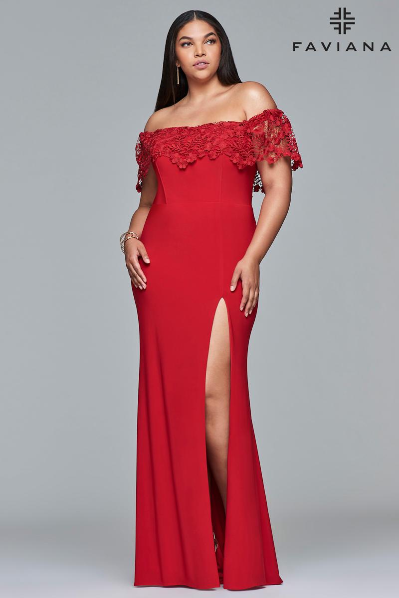 Faviana Curve 9422 Off Shoulder Plus Size Prom Dress