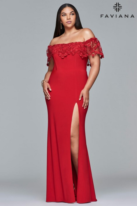 Faviana Curve 9422 Off Shoulder Plus Size Prom Dress: French Novelty
