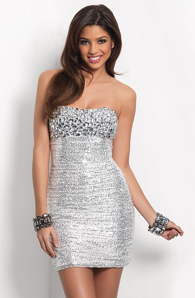Blush Prom White Silver Homecoming Dress 9424: French Novelty