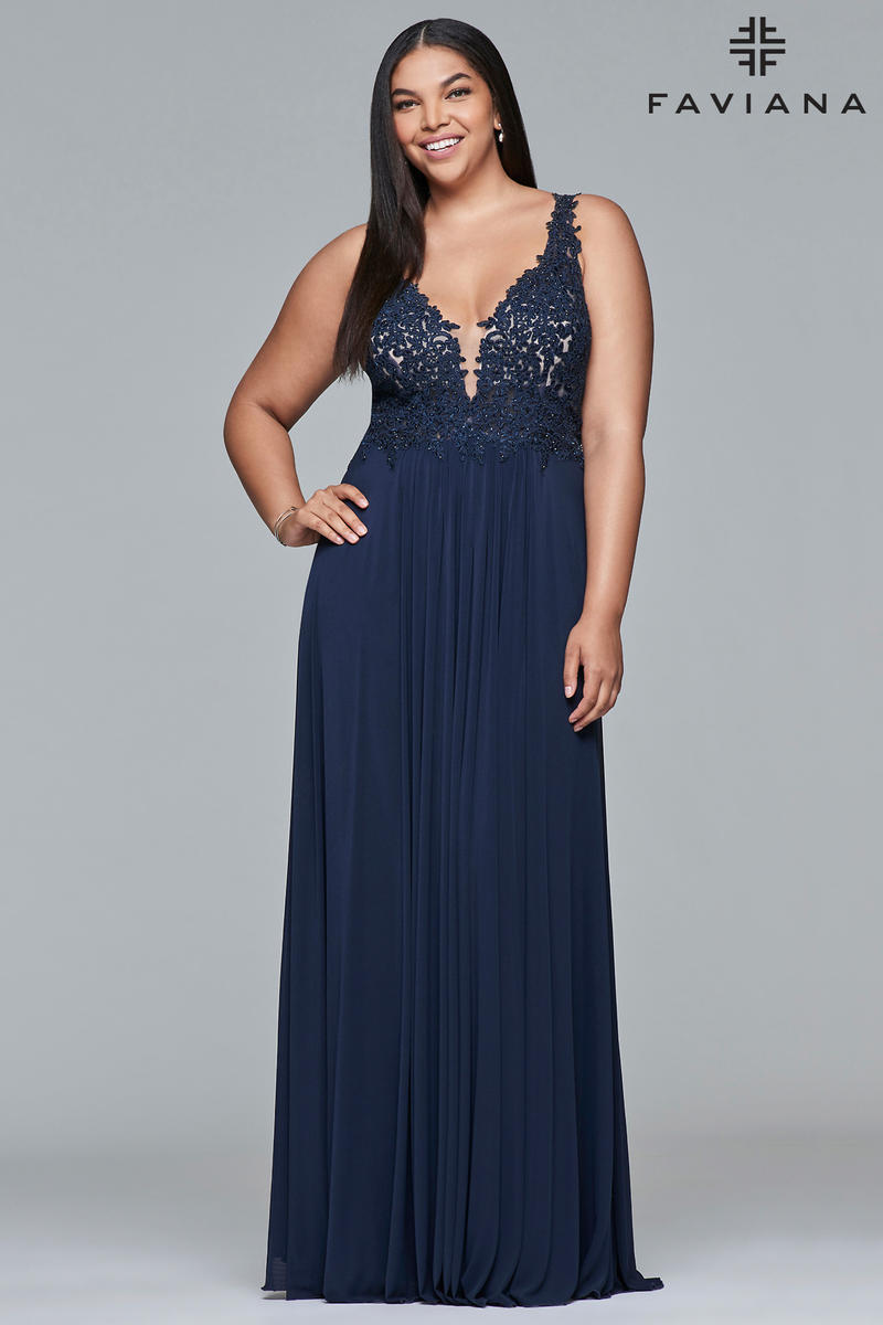 Faviana Curve 9428 Plus Size Beaded Illusion Gown: French Novelty