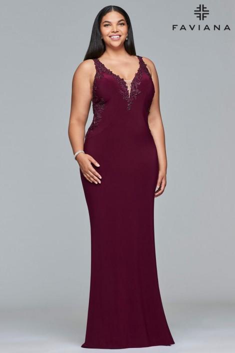 Faviana Curve 9432 Plus Size Jersey Prom Dress