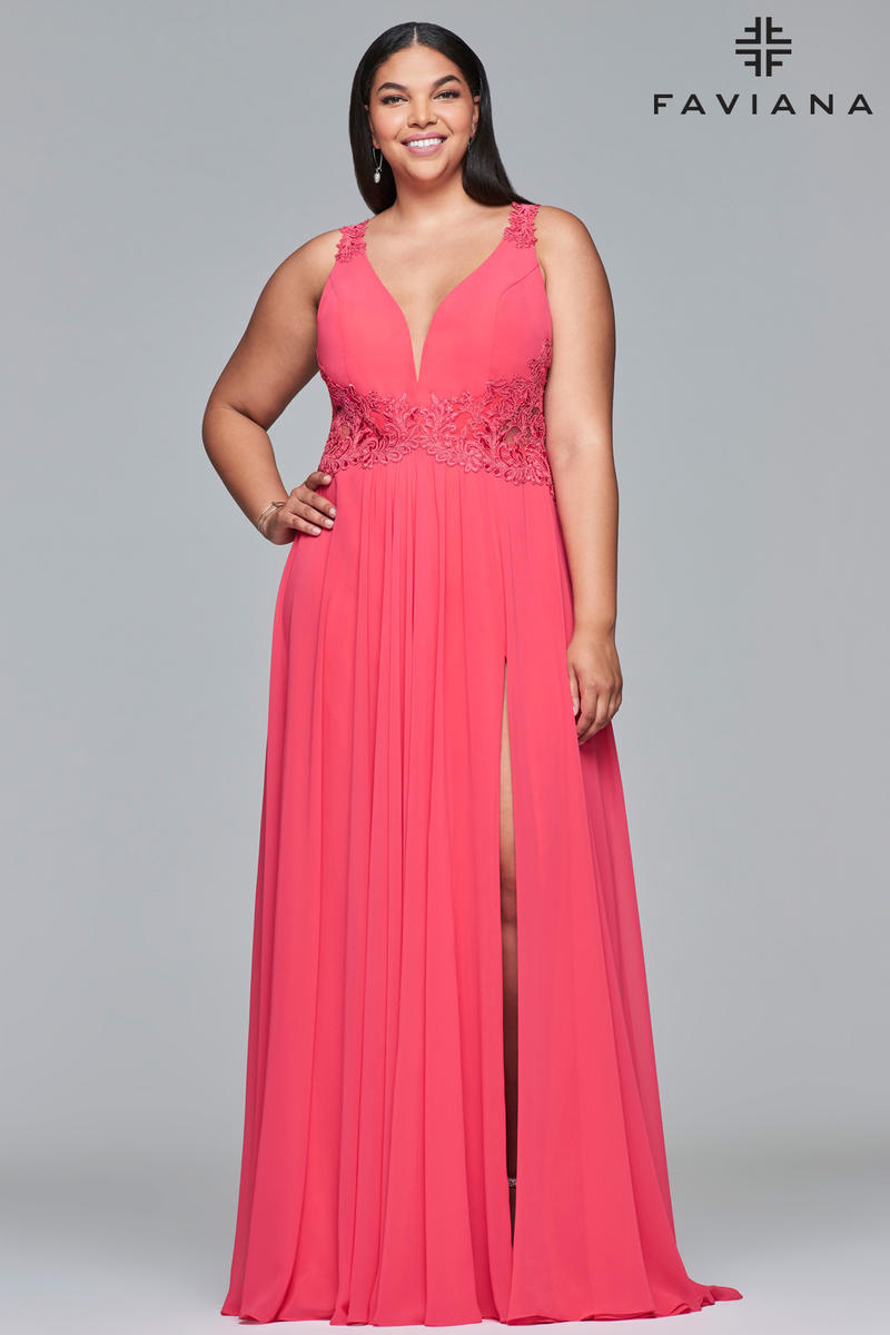 Faviana Curve 9433 Large Size Flowing Prom Gown French