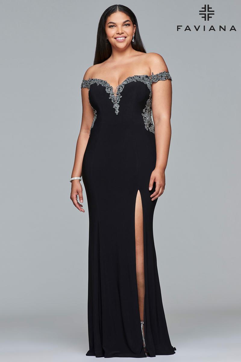Faviana Curve 9437 Plus Size Off Shoulder Prom Dress