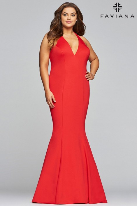 Faviana Curve 9454 Plus Size Halter Prom Dress