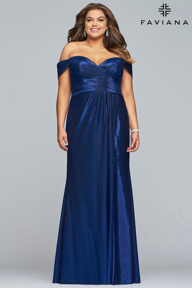 Faviana Curve 9457 Plus Size Off Shoulder Prom Dress