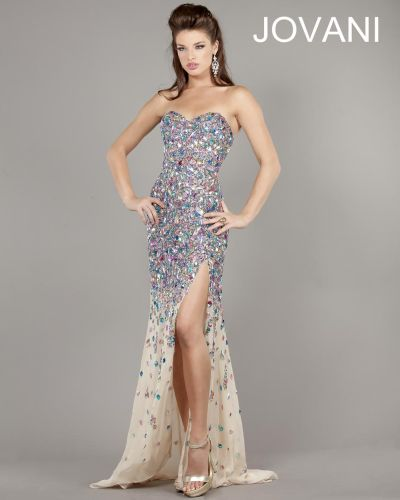 Jovani 946 Strapless Beaded Evening Gown: French Novelty