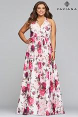 1aba12d98c36 Size 16W Ivory-Wine Faviana Curve 9468 Plus Size Floral Prom Dress