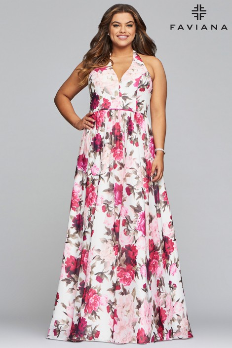 bba85e391a1c9 Faviana Curve 9468 Plus Size Floral Prom Dress  French Novelty