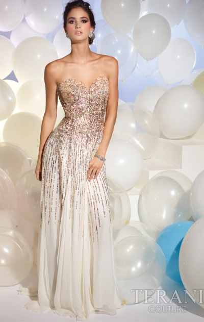 Terani Ivory Prom Dress with Sequins 95007P: French Novelty