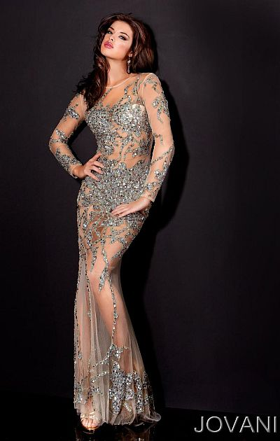 Long Sheer Prom Dress