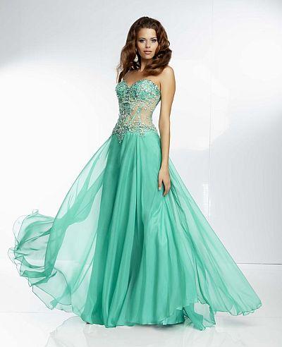 Mori Lee Paparazzi 95070 Sheer Corset Evening Dress: French Novelty