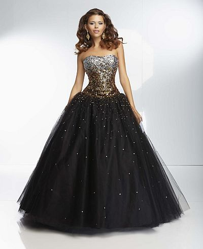 Mori Lee Paparazzi 95128 Ombre Beaded Ball Gown: French Novelty