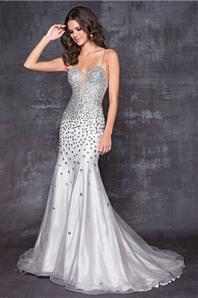 Blush By Alexia Plunging V Neck Silver Evening Dress 9514