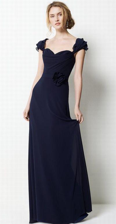 Watters Elegant Chiffon Long Bridesmaid Dress With Ruffle Straps 9551 French Novelty