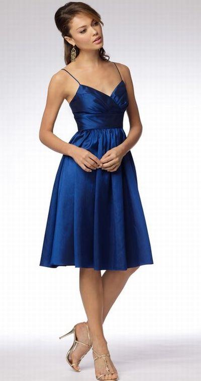 Wtoo short spaghetti strap bridesmaid dress with pockets for Spaghetti strap wedding dress with pockets