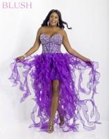 Blush W 9560W Plus Size High Low Ruffle Party Dress image