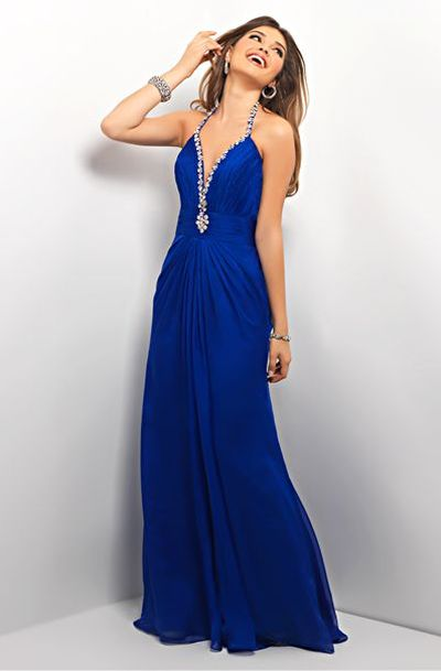 Blush By Alexia Sapphire Blue Hot Plunging Neckline Formal