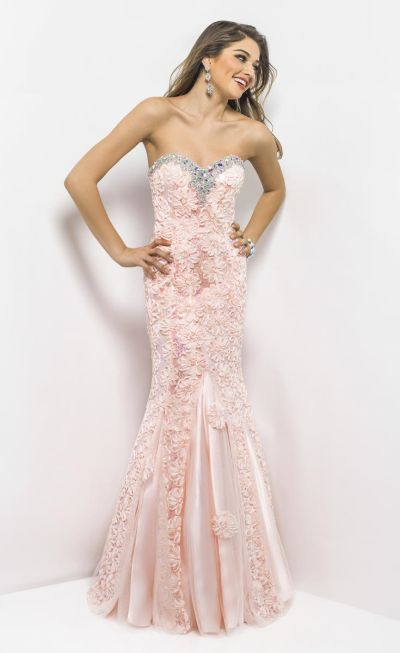 Blush 9582 Lace Up Back Mermaid Gown French Novelty