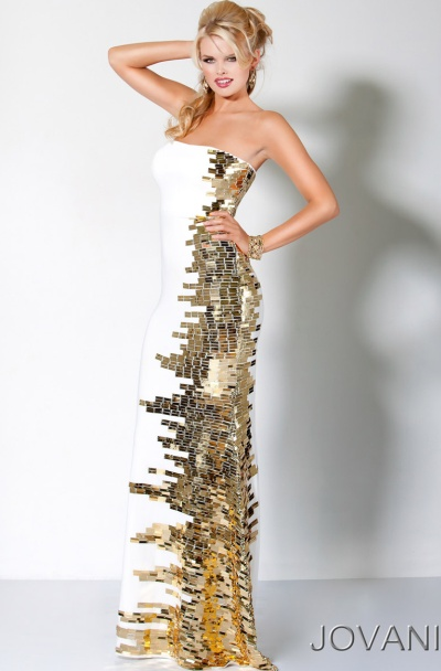 Jovani Long Prom Dress with Gold Beaded Side Panel 9610: French Novelty