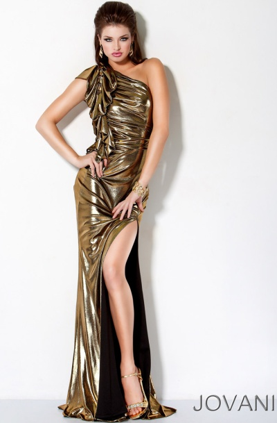 Jovani black and gold cocktail dress