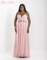 Blush W 9616W Plus Size Crystal Formal Dress image